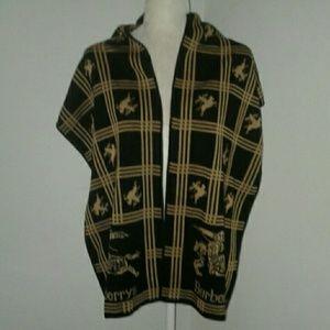 Vintage Rare Burberry London Cashmere Knit Scarf